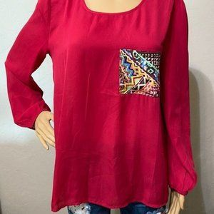 Pink career blouse with aztec print